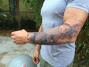 My first tattoo. Outline and shading on forearm. Koi ...
