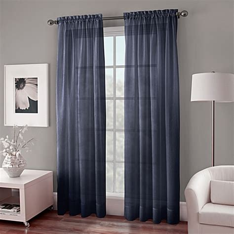 bed bath and beyond gray sheer curtains crushed voile sheer rod pocket window curtain panel bed