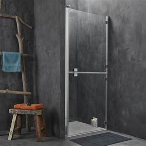 Porte de douche pivotante 90 cm transparent double for Porte de douche pliante 90 cm
