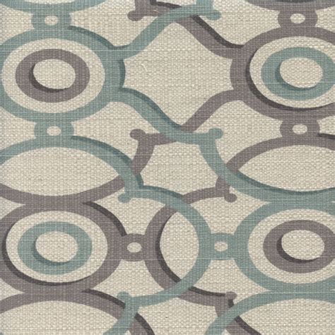 berdi spa blue gray geometric print cotton drapery fabric