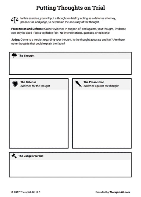 Cognitive Restructuring Thoughts On Trial (worksheet)  Therapist Aid