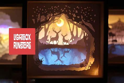deer spirit  shadow box paper cut lightbox
