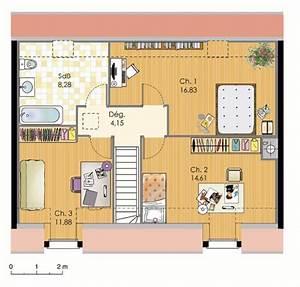 plan maison 100m2 etage de 0 bbc avec 3 chambres 224 With plan de maison a etage