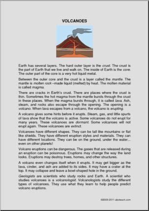 Comprehension Volcanoes (elementary) Abcteach