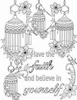 Coloring Believe Adult Colouring Yourself Inspirational Positive Faith Words Adults Uplifting sketch template