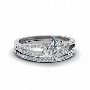 marquise shaped loop split diamond wedding ring set in 14k With marquise wedding ring set