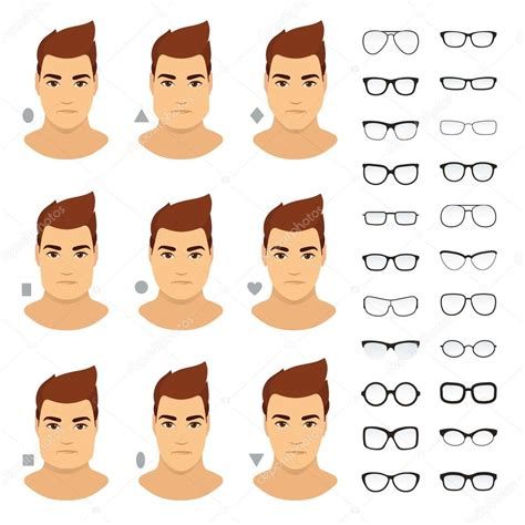 types of eyeglasses for different men face vector icon