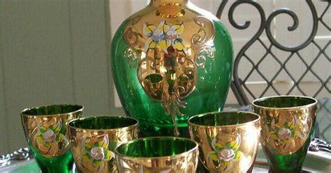 Moser. Vintage Czech Bohemian Hand Painted Emerald Green