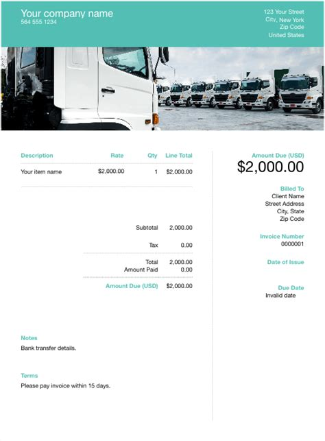 trucking invoice template    paid