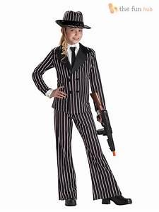 Girls Gangster Pinstripe Suit Fancy Dress Costume 1920s Bugsy Malone Kids Child   eBay