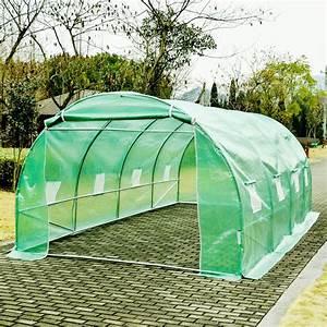 homcom serre de jardin tunnel zincage tente bache 6x3x2 With tente pour jardin pas cher