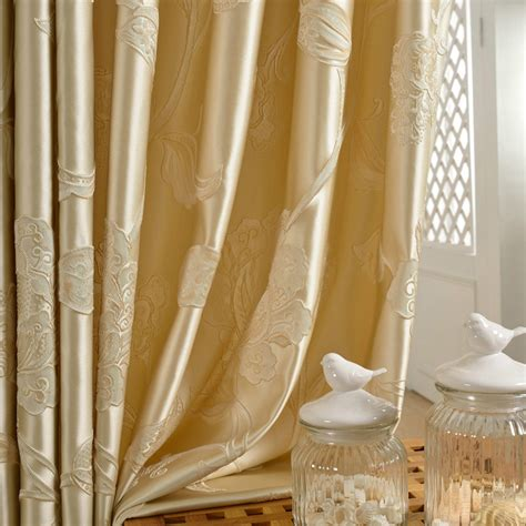 luxury floral gold jacquard curtains in living room