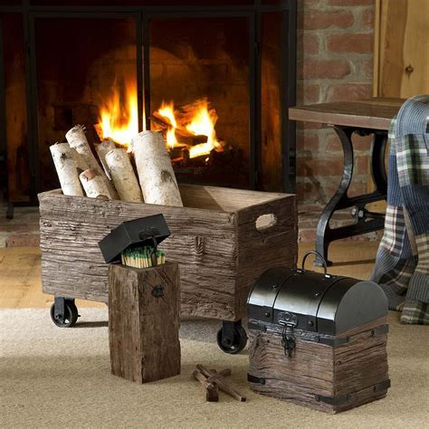 Iron and Wood Fireplace Match Holder With Long Matches