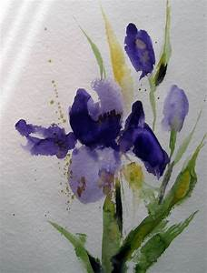 Aquarell Blumen Malen : blauer sommer blumen malerei nass aquarell von kerstin sigwart bei kunstnet ~ Frokenaadalensverden.com Haus und Dekorationen