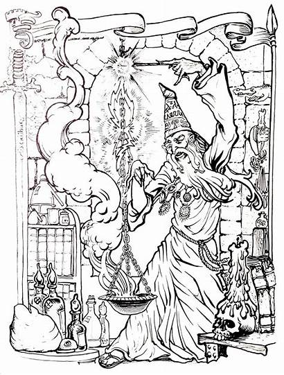 Coloring Merlin Pages Wizard Adults Myths Legends