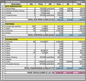 Example Home Construction Cost Estimate Form