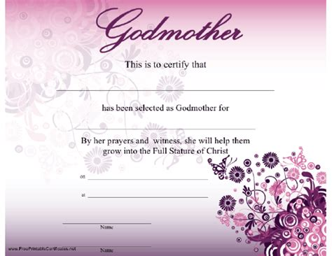 godmother certificate   beautiful modern purple