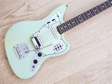 Blue Fender Jaguar by 1965 Fender Jaguar Vintage Electric Guitar Sonic Blue 100