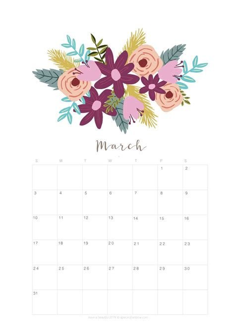 printable march  calendar monthly planner flower