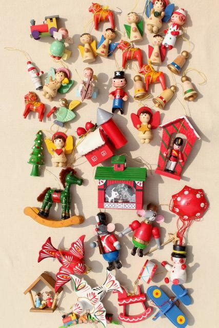 80s christmas decorations 80s vintage tiny wood ornaments tree decorations from taiwan china sweden
