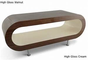 Large retro high gloss walnut and cream 110cm hoop coffee for Hoop coffee table