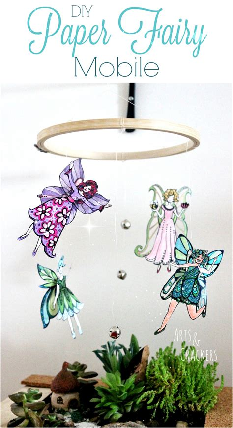 fairy mobile coloring page craft tutorial arts crackers