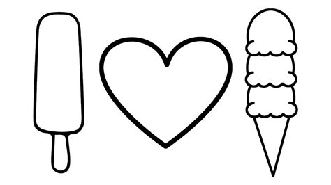 draw heart  ice cream coloring pages  kids