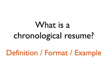 what is a chronological resume format and definition