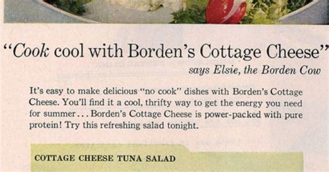 1958 Borden's Cottage Cheese Ad