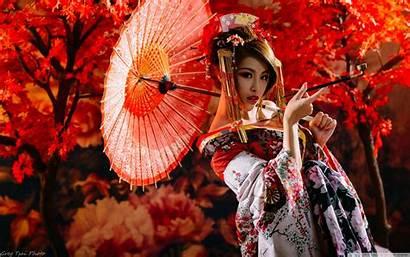 Smoking Traditional Japanese Woman