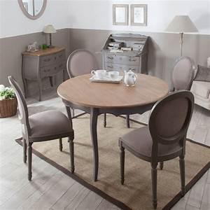 table a manger a rallonge ronde en bois l120cm avec 4 With meuble salle À manger avec chaise salle a manger en bois