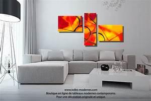 Tableau Salon Design : triptyque orange rouge et jaune chaleur intense acheter ~ Teatrodelosmanantiales.com Idées de Décoration