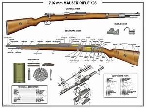 Details About Poster 18 U0026quot X24 U0026quot  Mauser K98 Rifle Manual Exploded Parts Diagram D