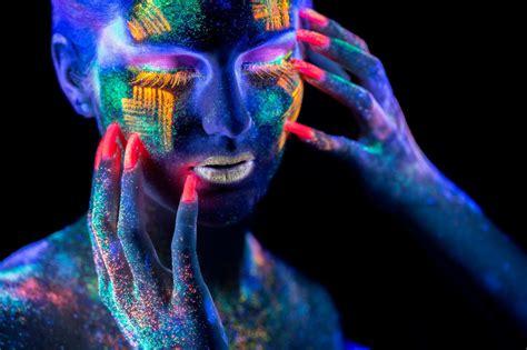 girls face hands  multi color neon neon paint pink fingernails dark beauty dark