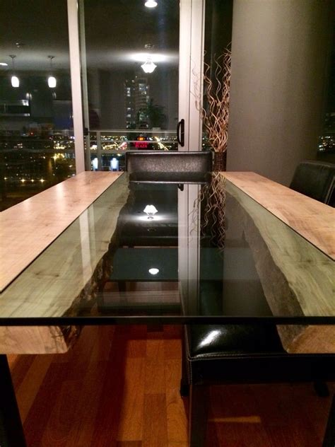 Hand Made Live Edge Wood And Glass Dining Table In Maple