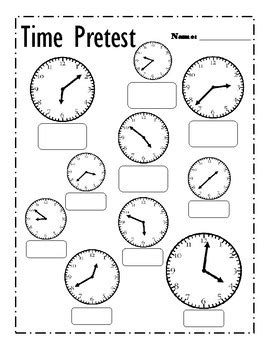 telling time pretest  post test  math animal tpt