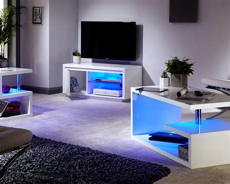 Polar White High Gloss Furniture With Led Lights