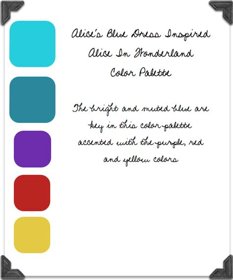 color palette options for an alice in wonderland birthday party