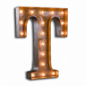rusty 24 inch letter t marquee light by vintage marquee lights With 5 inch marquee letters