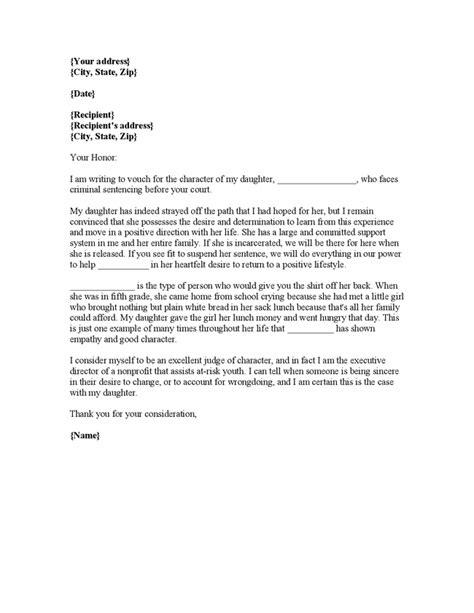 character reference letter for court template letter of recommendation for court hearing best template collection