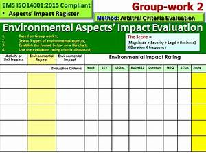 aspect and impact register iso 14001 ems With environmental aspects register template