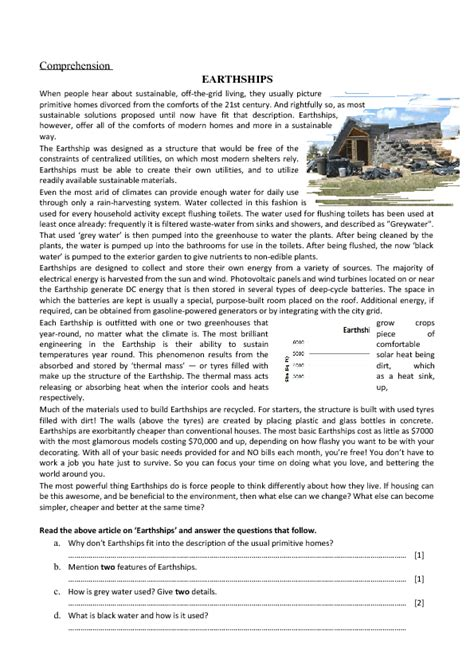 reading comprehension earthships