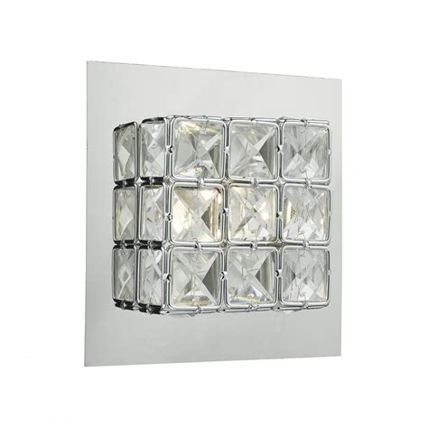 modern polished chrome and clear faceted glass led wall light