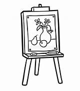 Easel Chevalet Colorare Cavalletto Coloring Libro Schildersezel Coloriage Colorir Boek Kleurend Cavalete Malbuch Schilderen Livro Abbildung Gestell Arte Illustrazione Vector sketch template