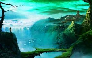 Fantasy, Art, Temple, Waterfall, Wallpapers, Hd, Desktop, And