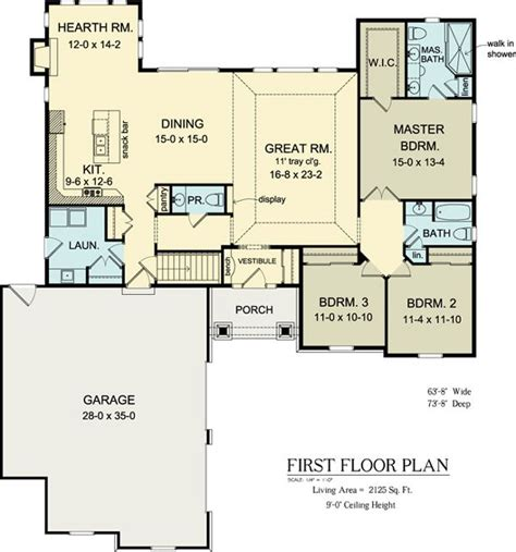 Kitchen Floor Plans With Hearth Room floor plan of ranch house plan 54037 skip hearth