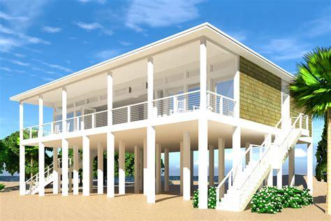 Modern Piling Loft-style Beach Home Plan