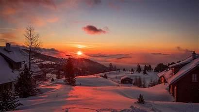 Sunset Winter Mountains Austria Background Trees 1080p