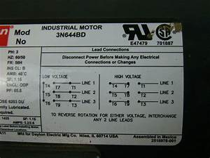 Dayton Industrial Motor 1 2 Hp Ph3 208 460v 5 4
