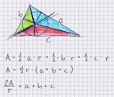 beweise bei einem dreieck umfangflaecheinkreisradius